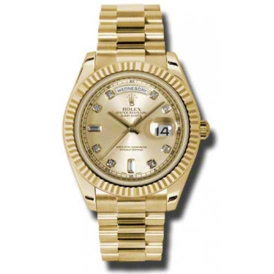 Rolex Day-Date II Champagne/Diamond President 218238