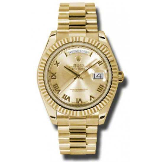 Rolex Day-Date II Champagne Roman President 218238