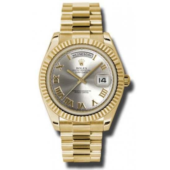 Rolex Day-Date II Silver Roman President 218238