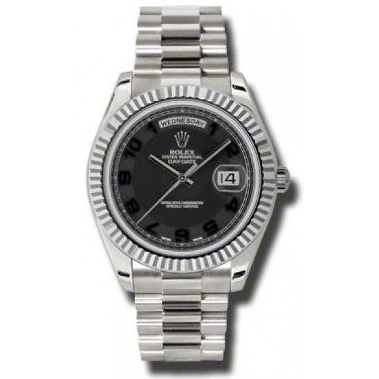 Rolex Day-Date II Black Arab Concentric President 218239
