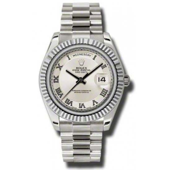 Rolex Day-Date II Ivory Roman Concentric President 218239