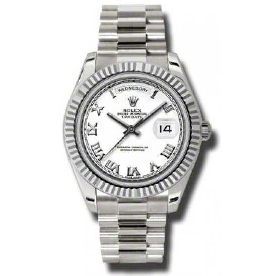 Rolex Day-Date II White Roman President 218239