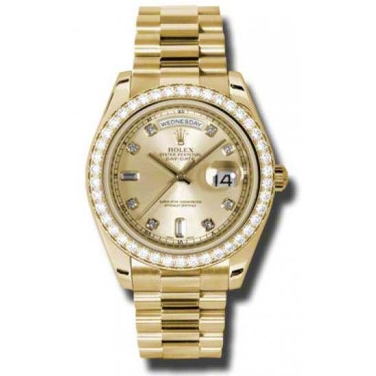 Rolex Day-Date II Champagne/Diamond President 218348