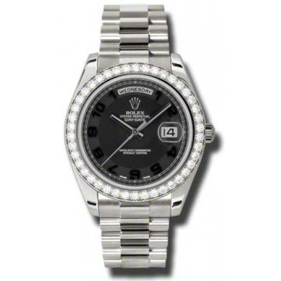 Rolex Day-Date II Black Arab Concentric President 218349