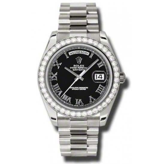 Rolex Day-Date II Black Roman President 218349