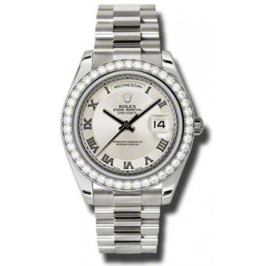 Rolex Day-Date II Ivory Roman Concentric President 218349