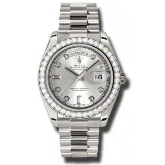 Rolex Day-Date II Silver/Diamond President 218349