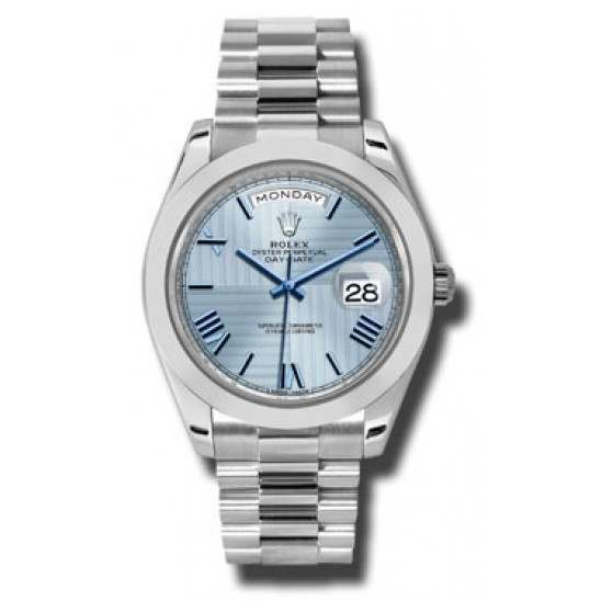 Rolex Day Date 40 Ice Blue/ Roman Platinum 228206