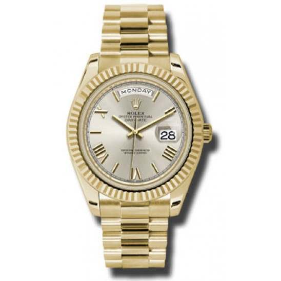 Rolex Day Date Silver/ Roman Yellow Gold 228238