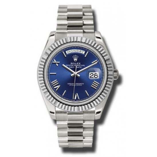 Rolex Day Date Blue/ Roman White Gold 228239