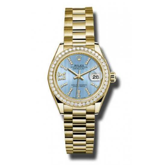 Rolex Lady Datejust 28 Yellow Gold Blue/ diamond President 279138RBR