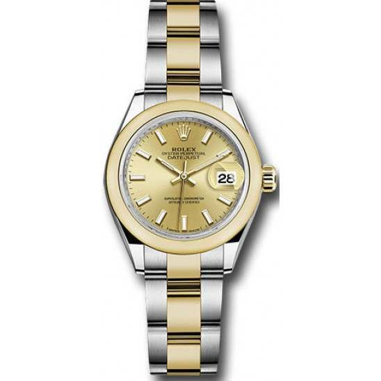 Rolex Lady Datejust 28 Steel&Gold Champagne/ Index Oyster 279163
