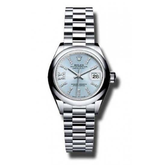 Rolex Lady Datejust 28 Platinum Ice Blue/ Diamond 279166 Basel 2015