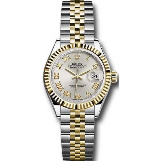 Rolex Lady Datejust 28 Steel&Gold Silver/ Roman Jubilee 279173