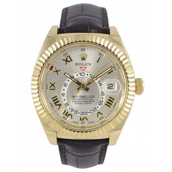 Rolex Sky-Dweller Yellow Gold Silver Roman Leather 326138