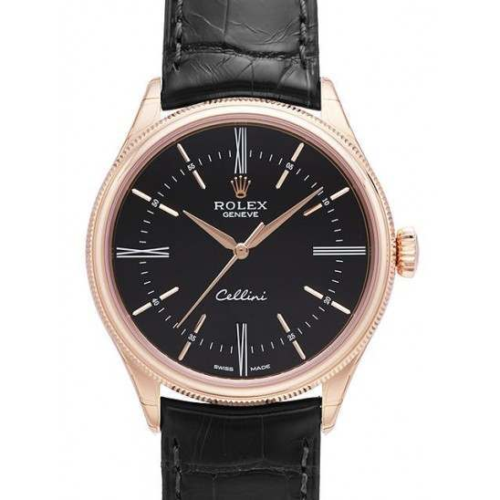 Rolex Cellini Time Black/Hour Markers Leather 50505
