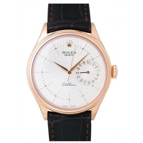 Rolex Cellini Date Silver Guilloche/Hour Markers Leather 50515