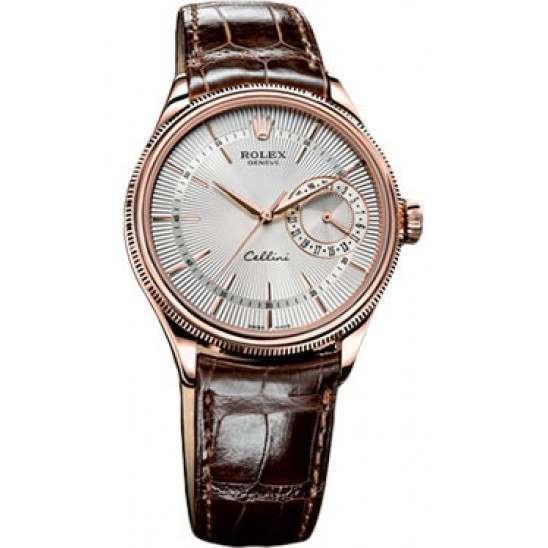 Rolex Cellini Date Silver Guilloche/Hour Markers Leather 50515