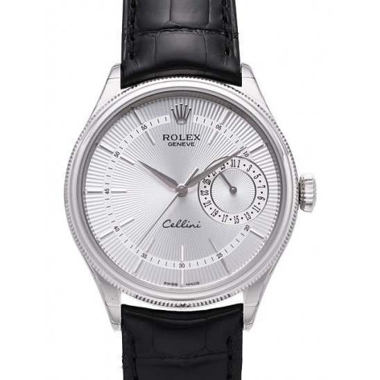 Rolex Cellini Date Silver Guilloche/Hour Markers Leather 50519