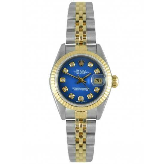 Rolex Lady Datejust Blue 'After Set' Diamond Dial Jubilee 69173