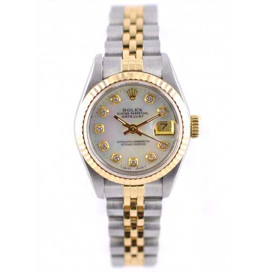 Rolex Datejust after set mother of pearl diamond dial 69173  main