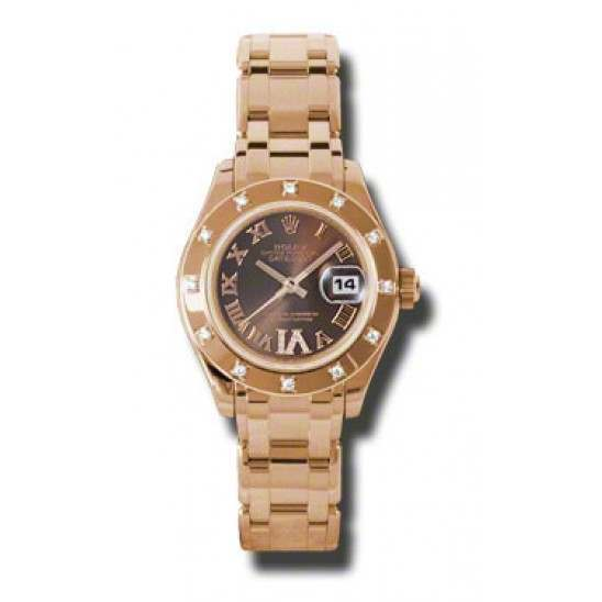 Rolex Lady Pearlmaster Chocolate Roman 80315
