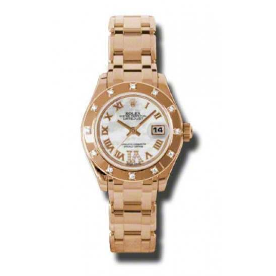 Rolex Lady Pearlmaster White mop Roman 80315