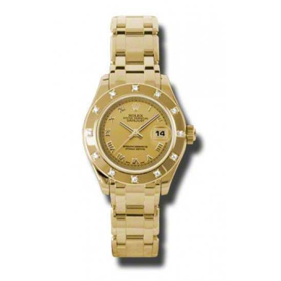 Rolex Lady Pearlmaster Champagne Roman 80318