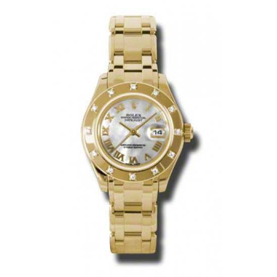 Rolex Lady Pearlmaster White mop Roman 80318