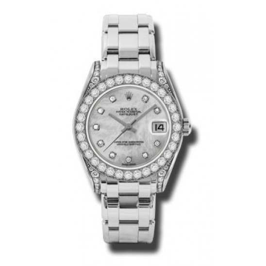 Rolex Pearlmaster 34mm White Gold White mop/diamond 81159