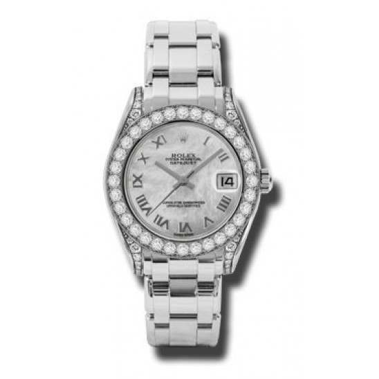 Rolex Pearlmaster 34mm White Gold White mop Roman 81159