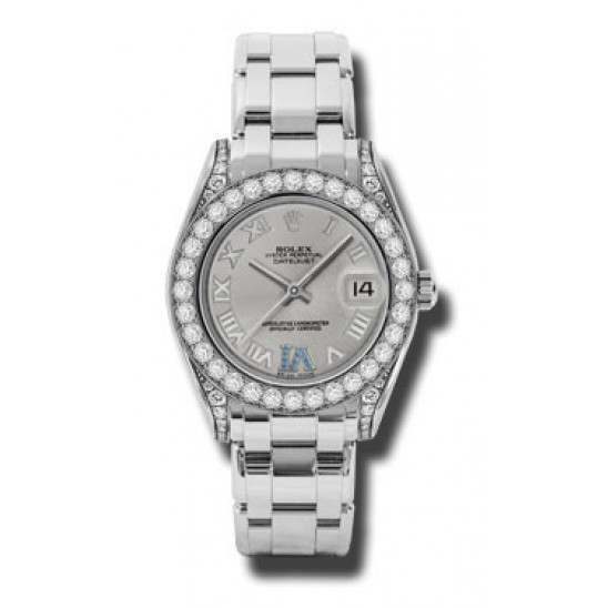 Rolex Pearlmaster 34mm White Gold Silver Roman 81159