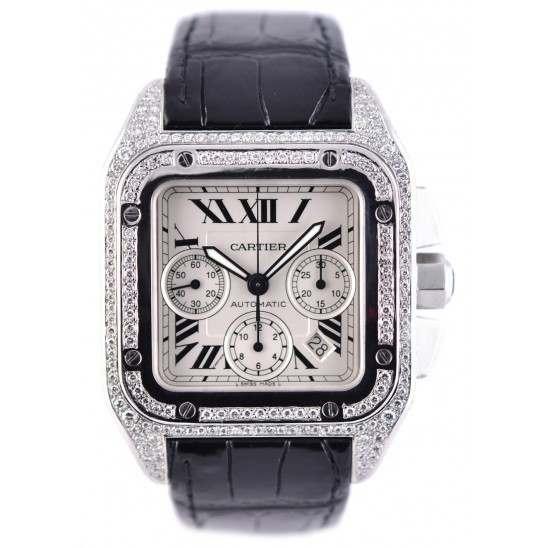Cartier Santos 100 XL Diamond Covered (afterset)