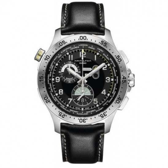 Hamilton Worldtimer Black Dial Chronograph Black Leather H76714735