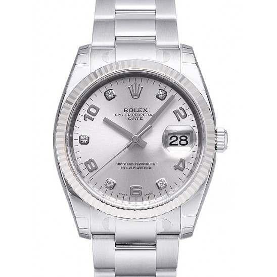 Rolex Date Silver Arab 5 diamond Oyster 115234