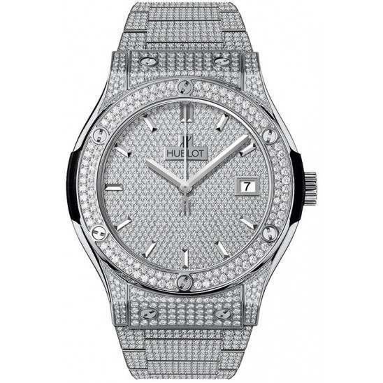 Hublot Quartz Titanium Bracelet Full Pave 581.NX.9010.NX.3704