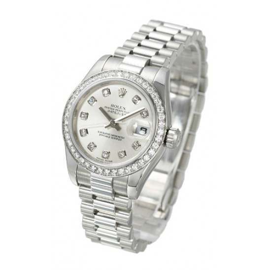 Rolex Lady-Datejust Silver/Diamond President 179136