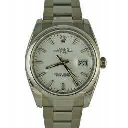 Unworn Rolex Perpetual date silver baton dial 115200