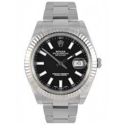 As New Rolex Datejust II Black Index Oyster 116334
