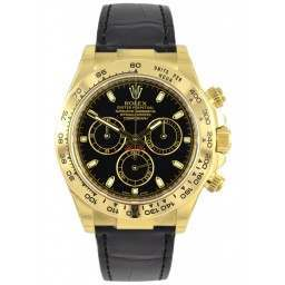 Rolex Cosmograph Daytona 18ct Yellow Gold Black/index Leather 116518