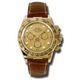 Rolex Cosmograph Daytona Champagne/8 Diamond Leather 116518
