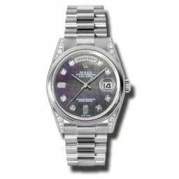 Rolex Day-Date Black mop/Diamond President 118296