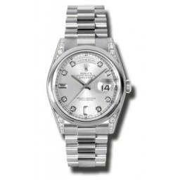 Rolex Day-Date Silver/Diamond President 118296