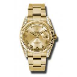 Rolex Day-Date Yellow Gold Champagne Roman Oyster 118338