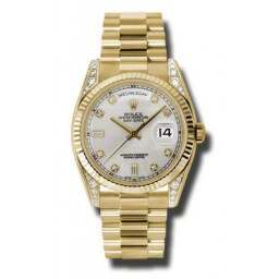 Rolex Day-Date Yellow Gold Silver/Diamond President 118338