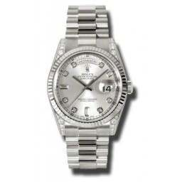 Rolex Day-Date Silver/Diamond President 118339