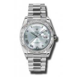 Rolex Day-Date Platinum Ice Blue Roman President 118366