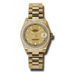 Rolex Lady Datejust 31mm Champagne/index President 178288