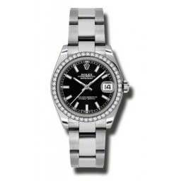 Rolex Lady Datejust 31mm Black/index Oyster 178384
