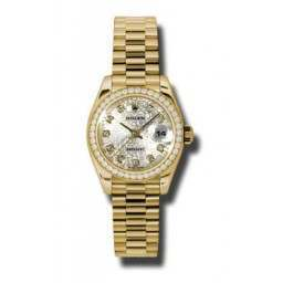 Rolex Lady-Datejust Silver Jub/Diamond President 179138